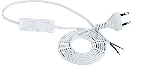 Anschlussleitung Zuleitung Euro-Stecker Netzkabel Stromkabel 2-polig mit Schalter (3.0 Meter, Weiss)