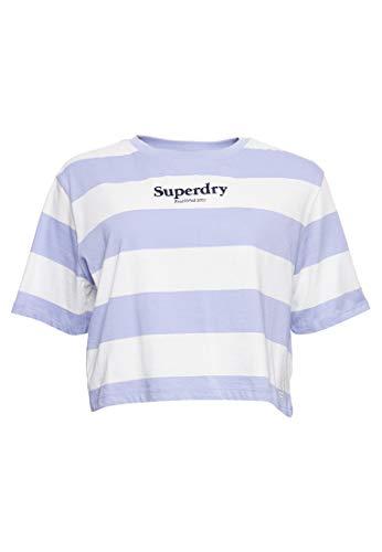 Superdry Mujer Camiseta de Corte Cuadrado a Rayas Harper Garza Azul 34