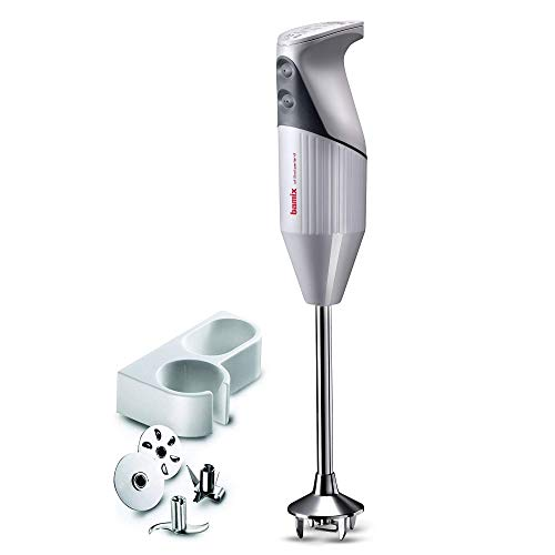 Bamix G200 Gastro Pro-2 Professional Immersion Hand Blender – Light Grey – 4 Stainless Steel Blades – Aerating, Blending, Chopping, and Slicing Blades – Includes Wall Bracket