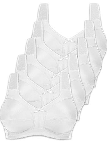 Naturana Pack of 5 Non-Wired Soft Bras 86136 D 58 White