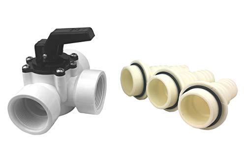 well2wellness® PVC 3-Wege Solarventil Solarschieber mit Innengewinde 1 1/2