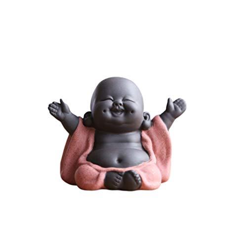 SUPVOX Lachender Buddha Statue Mönch Figur Baby Handwerk Puppen Maitreya Feng Shui Ornamente Geschenk Orange