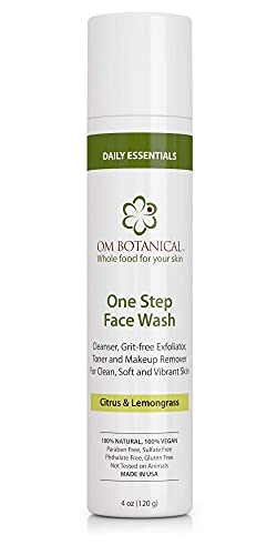 One Step FACE WASH for Men, Women, Teenagers   Best All-in-one Deep Moisturizing Cream Cleanser, Grit Free Exfoliator, Natural Wash & Facial Toner   Organic Ayurvedic Herbal Non-drying Pore Reducing E