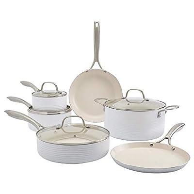 Denmark Tools for Cooks Monaco Cookware Collection Non-Stick Durable Aluminum Oven Safe, 10 Piece Monaco Cookware Set in Snow White