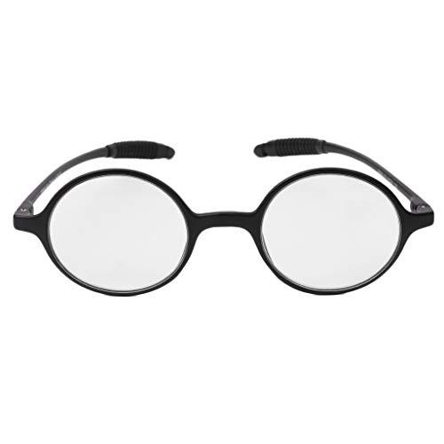 Koehope leesbril lichte TR90 ronde bril Resin Presbyopia anti-blauw licht oogglas +1,0~4,0 +2.0 zwart