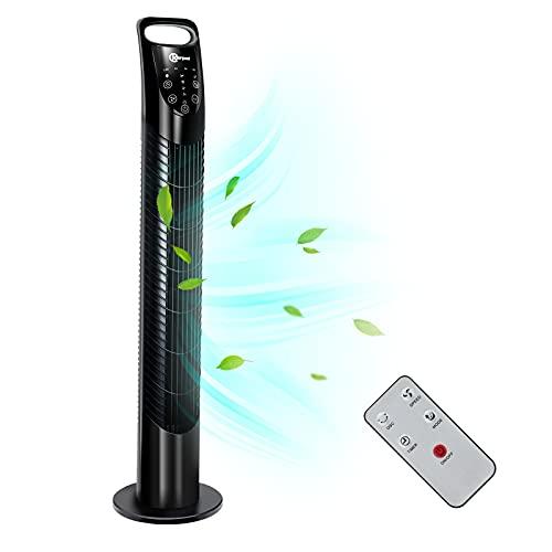 Karpal - 40 Watt 78cm Turmventilator leise mit Fernbedienung | 75° Oszillationsfunktion Säulenventilator | mit 3 Geschwindigkeitsstufen und 7.5H Timerfunktion | Modell 2020 - Schwarz