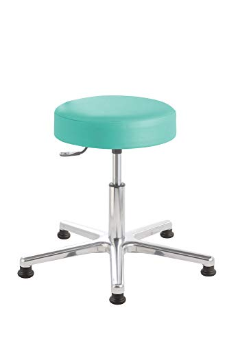 Prova Nova GmbH Roll- und Drehocker puffi® 4100, Sitzhöhe ca. 45-59 cm, Rundsitz, Rollen/Bodengleiter:Bodengleiter, Polsterdekor:Stamskin Opal-grün