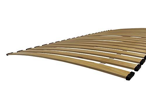 Clamaro 90x200 cm Rollrost mit Federleisten gebogen, 22 Leisten aus stabilen Multiplex Birkenholz, inkl. Schutzkappen und vorgebohrter Befestigungslöcher - Premium Rolllattenrost Made in Germany