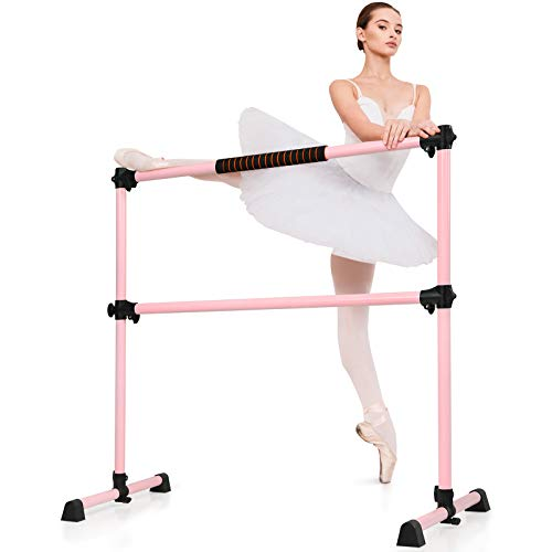 TANGZON Double Ballet Barre, Portable Height-Adjustable Barre Rail with...