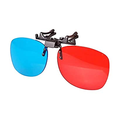 Solarson 3D Clip-on Glasses Red Blue 3D Glasses for All 3D Movies Games Light Weight Simple Design