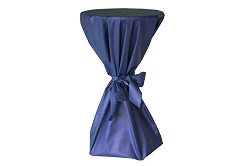 Stehtisch Husse - abwischbar - mit extra Schleifenband aus stoffähnlichem Vlies (BLAU, 70-80 cm Tischdurchmesser), Öko-Tex 100 zertifiziert, ideal für jede Party, Catering, Vereinsfeier, Geburtstagsfeier, Event
