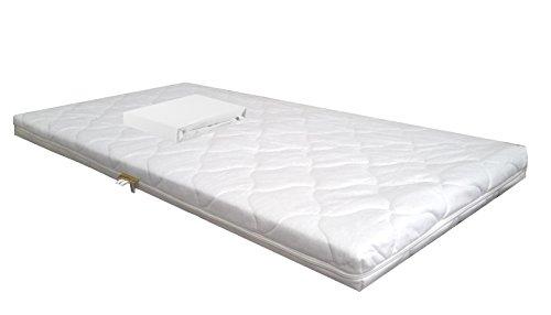 Baby schuimkernmatras Comfort gewatteerd 60 x 120 wit + badstof hoeslaken wit babymatras matras schuimstof laken