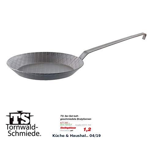 Tornwald-Schmiede Eisenpfannen: Kaltgeschmiedete Bratpfanne mit Rauten-Prägung, Ø 28 cm, 3,5 cm hoch (Geschmiedete Pfanne)