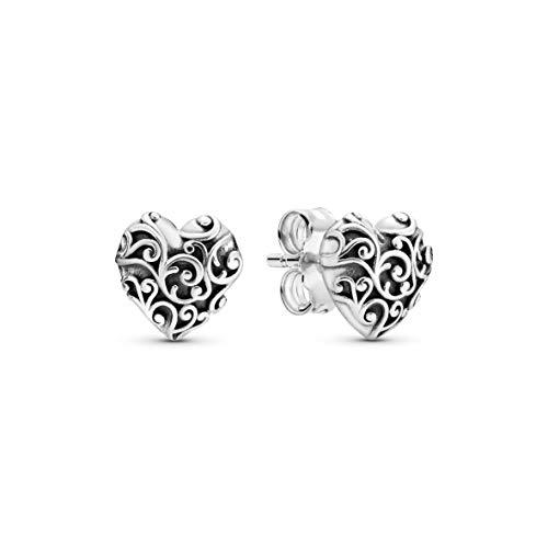 Pandora Pendientes de botón Mujer plata -...