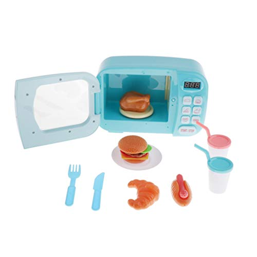 SM SunniMix Mini Modelo de Microondas con Efectos de Luz y Sonido, Tocadiscos Automático, para Niños Juguetes de Rol 23x10x15cm - Azul