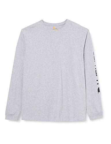 Carhartt Herren Signature Logo Long-Sleeve T-Shirt, Heather Grey, M