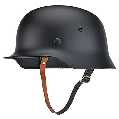 SYLPHID Outdoor WW2 Germany M35 Steel Helmet Stahlhelm World War II German Army Helmet with Leather Liner (Black)