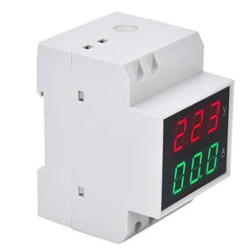 SANON Voltaje Digital Amperímetro Amperímetro de Alta Precisión de Doble Pantalla de Carril Din Voltímetro Amperímetro Ac80-300V