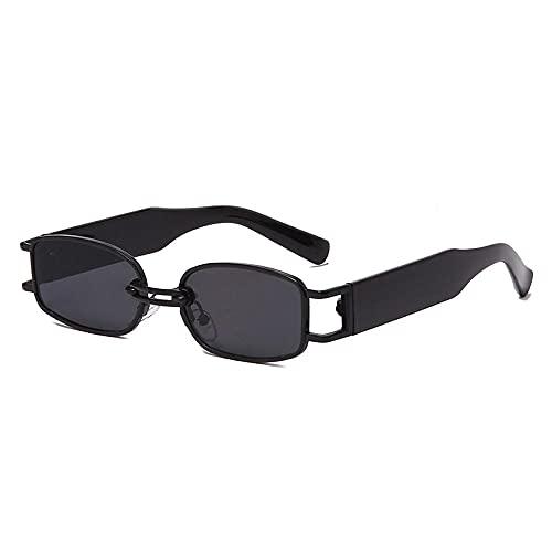 Gafas De Sol Hombre Mujeres Ciclismo Gafas De Sol Rectangulares De Moda para Mujer, Gafas De Sol Punk Cuadradas Vintage para Hombre, Gafas Transparentes-Black_Gray