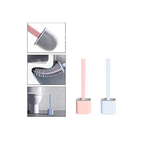 LATTCURE Toilettenbürste, Silikon Toilettenbürste, WC Bürsten ohne Bohren, Silicone Flex Toilet Brush für Badezimmer mit schnell trocknendem Kann gestellt