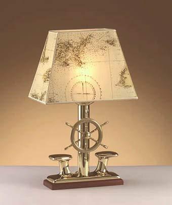 Tischlampe NAUSICA aus Messing Papier Schirm H: 33cm maritime Lampe Tischleuchte Schreibtisch