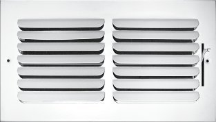 "12""w x 6""h 1-Way Fixed Curved Blade AIR Supply Diffuser - Vent Duct Cover - Grille Register - Sidewall or Ceiling - High Airflow - White"