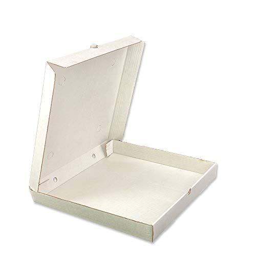 Buongiusti AG 50 x Pizzakarton Pizzaschachtel Karton für Pizza   Quadratische Kartons   Pizza - Box (Weiß, 40 x 40 x 5 cm)