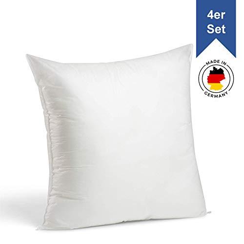 LILENO HOME 4er Set Kissenfüllung 45 x 45 cm - waschbares Innenkissen geeignet für Allergiker - Polyester Kisseninlet als Couchkissen, Sofa Kissen, Cocktailkissen und Kopfkissen