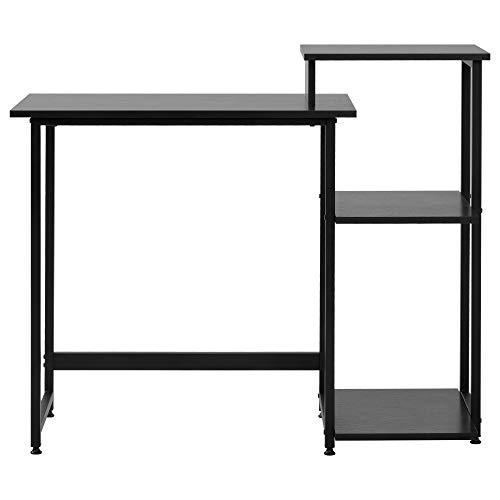 Escritorio, mesa de ordenador, mesa de oficina, mesa de trabajo, para oficina, salón, escuela, marco de metal (negro)
