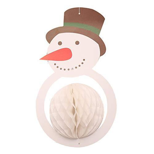 Amosfun Weihnachten hängen Papier Wabenkugel Schneemann Papier Decke Laterne Anhänger für Weihnachtsbaum Urlaub Festliche Wohnkultur