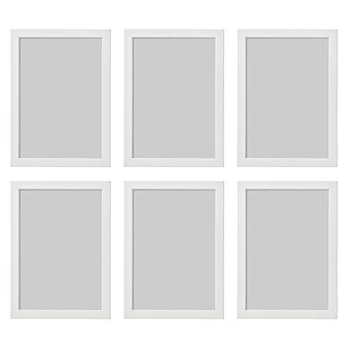 Ikea Fishbo Bilderrahmen, A4, 21 x 30 cm, Weiß, 6 Stück, Pappe, Faserplatte, Folie, Polystyrol-Kunststoff, Acrylfarbe, weiß, 21x30cm