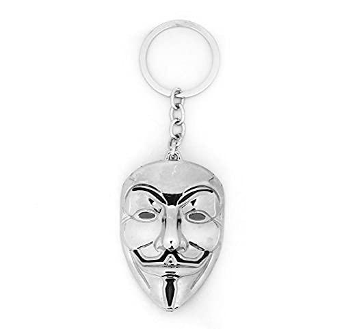 xy Exquisito Llavero V para Vendetta película Llavero Llavero Llavero anónimo máscara Metal llaveros Bolsa de Coche Llavero Llavero para Hombres Mujeres chaveiro llaveros Llavero (Color : White)