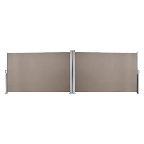 wolketon Doppelseitenmarkise ausziehbar -180 x 600 cm Brau Seitenmarkise TÜV,geprüft UV,Reißfestigkeit,seitlicher Sichtschutz sichtschutz,für Balkon Terrasse ausziehbare markise