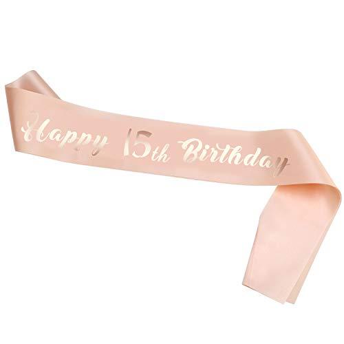 HOWAF Oro Rosa 15 cumpleaños Faja Banda de satén cumpleaños Faja para Niña 15 Años Niña Cumpleaños Fiesta de Decoración Accesorios Regalo