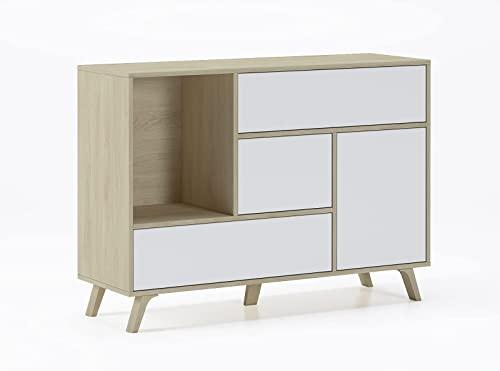Skraut Home - Meuble de Rangement, Buffet de Salle à Manger, modèle Wind 1 Porte, 3 tiroirs, Structure de Couleur...