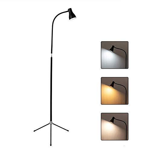 Lámpara de pie con trípode USB Luz de Lectura Regulable LED Lámpara de pie Minimalista Metal Negro 360 & deg;Lámpara de pie de Cuello de Cisne Flexible para Sala de Estar para Dormitorio