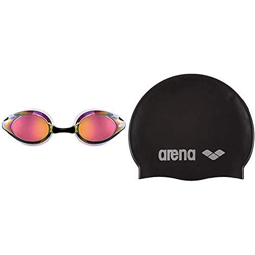 ARENA Tracks Mirror Gafas de Natación, Unisex Adulto, Blanco (revo), Universal + Classic Gorro de Natación, Unisex Adulto, Negro (Black/Silver), Talla Única