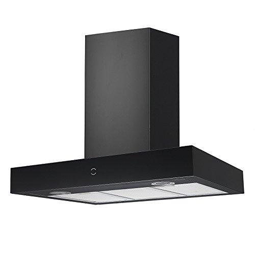 Vlano/RHEA 900 PLASM BK/schwarz/Block Dunstabzugshaube/Plasmafilter Umluft/Glas-Edelstahl/Invisible Touch/ECO LED / 90 cm / 65 dB