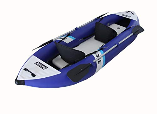 Brine Marine Inflatable Kayak 2 Person Super Stable, Allows You to Stand up and Fish. Large Capacity of 550lb. 10'6' Long. Compact Storage Bag, Pump, Paddles & Accessories Included
