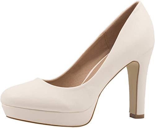 Elara Jumex Damen High Heels Schuhe Plateau Pumps Chunkyrayan E22321-Weiss-38