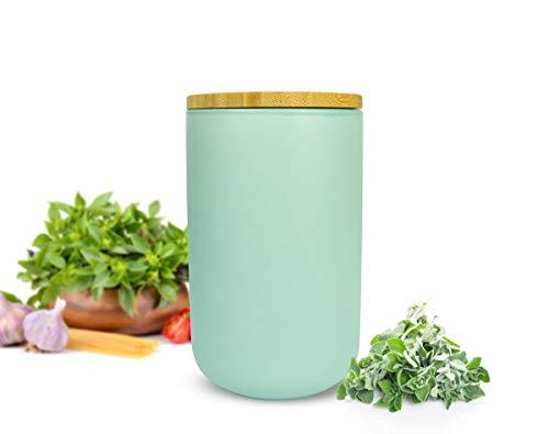 Sendez Vorratsdose mit Holzdeckel Keramik Türkis Vorratsbehälter Keramikdose Dose