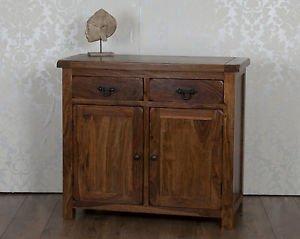 Oak and Pine Online Classically Modern Dark Wood Valencia Solid Sheesham Rosewood 2 Door 2 Drawer Sideboard Cabinet Cupboard Living Dining Room Furniture