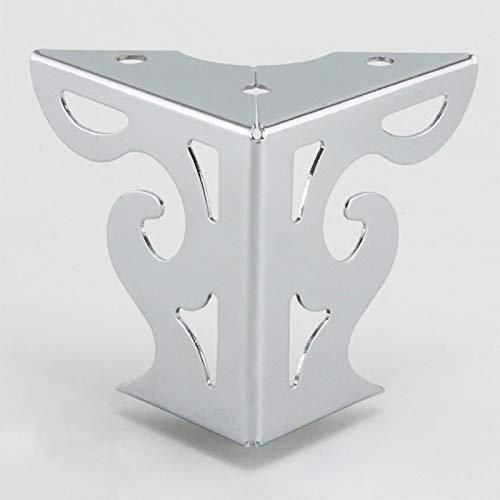 SHOP YJX 4 patas de metal para muebles de 8 cm con patrón calado, patas huecas de gabinete de TV, patas de mueble de soporte triángulo para sofá (color: cromo claro)