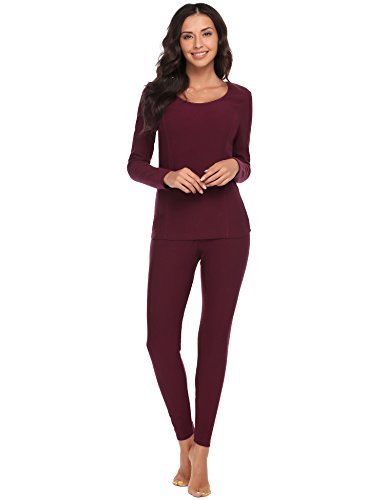 Ekouaer Women's Long Thermal Underwear Fleece Lined Winter Base Layering Set (Small, Wine Red)