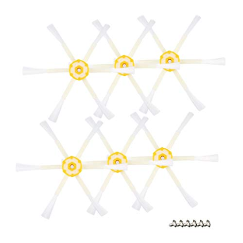 HermosaUKnight 6 Cepillo Lateral Armado Reemplazo de Piezas para Roomba 528, 595, 620, 650, 760, 770, 780 (Blanco y Amarillo)