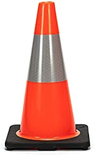 "(Set of 12) CJ Safety 18"" Black Base Orange Premium PVC Traffic Safety Cones with 6' Reflective Collar (12 Cones)"