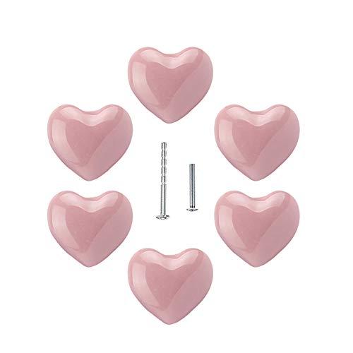 UULU 6Stück herzförmige Keramikknäufe für Kinder, Keramikknäufe griffe, Möbelknöpfe, für Schubladen, Schränke, Türen, Schlafzimmer, Küche Möbel, mit 2 Arten Schrauben (Pink)