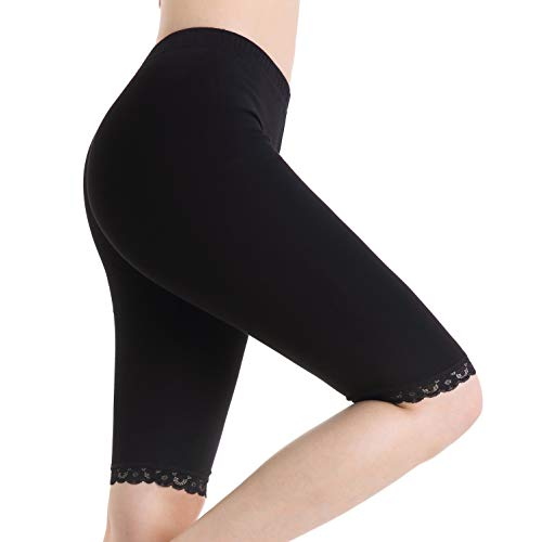 Damen Knielang Shorts Under Rock Spitze Leggings Schwarz Kurze Sicherheitshosen