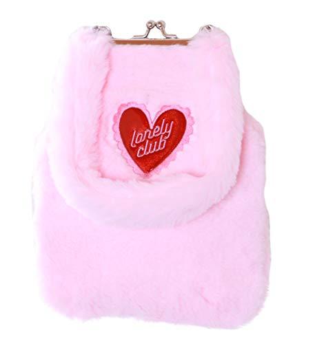 LB-249-1 - Bolso de peluche con forma de corazón, color rosa