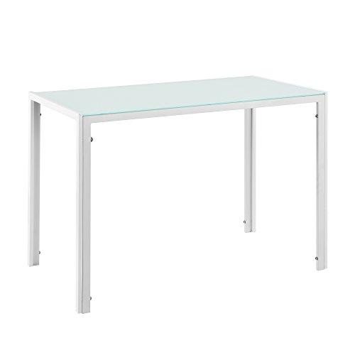 [en.casa] Esstisch 105x60x75cm Tischplatte aus Glas Weiß
